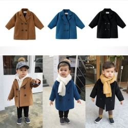Xqm Boys Girls Woolen Trench doppio-breasted Coat lapel Kids Outerwear Giacche invernali in lana