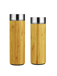 二重壁のステンレス鋼の絶縁された真空自然なタケ旅行スポーツ屋外BPAの自由にFDAはInfuser 420mlのロゴによって刻まれる在庫が付いている飲料水のびんを等級別にする