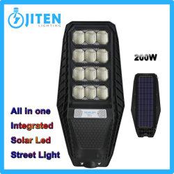 100W 200W 300W 屋外照明すべてを 1 つの LED ソーラーで ロードビルハウスパスウェイハイパワーフラッド用の街路灯 キャノピハイベイガーデンウォールランプ