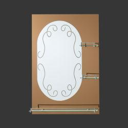 En la pared aluminio plata Home marco decorativo espejo del baño sin cerco con estante de cristal