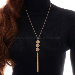 Retro Alliage plaqué or Bijoux de mode pièce ronde géométrique Long Collier avec pendentif Tassel