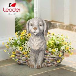 Фо каменные статуи собак двойной сеялки реалистичных сад собака Flowerpot