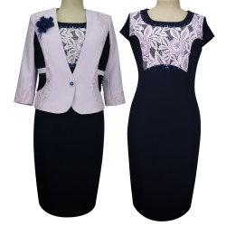 Les femmes dame élégante robe monté hors de l'épaule Mesdames robe costume deux pièces de bureau haut et jupe Slim-Cut