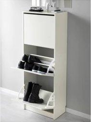 安い価格の白い木のメラミン3ドアの靴のキャビネット
