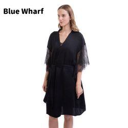 Luxe Groothandel Custom Logo lange mouw nachtkleding met zijdezijde Sexy dames pyjama's Satin Silk badjassen