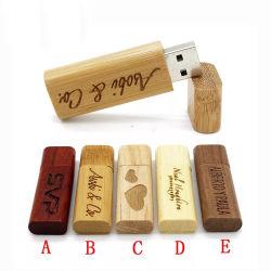 شعار مخصص سعة 4 جيجابايت وسعة 8 جيجابايت وسعة 32 جيجابايت و128 جيجابايت من نوع USB من الخشب قلادة محرك فلاش