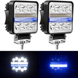 مصباح LED أزرق مربع بقوة 102 واط، مصباح مصباح موضعي 15000 لومن، قضيب إضاءة الطرق الوعرة، IP67، مصباح ضوء مصباح ضوء مصباح ضوء مصباح الضوء لشاحنة SUV ATV