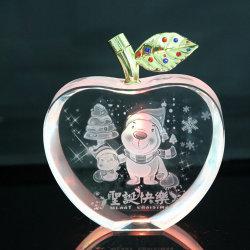 Design personalizado dentro para entalhar cristal de vidro Natal Dom Apple decoração disponíveis da Vela Aquecedora