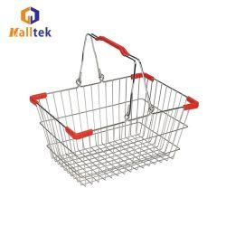 도매 메탈 스틸 와이어 메쉬 슈퍼마켓 소매용 장바구니 식료품 가게