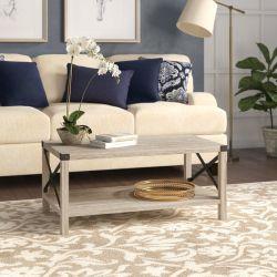 X, diseño de la madera y metal gris el bastidor de mesa de café Lavado de Muebles de salón