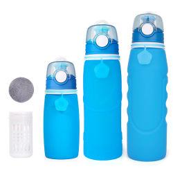 Échantillon gratuit potable léger en silicone écologique sans BPA Personnaliser filtre démontable Sports Bouteille d'eau 750ml