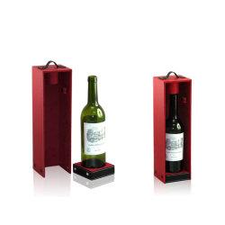 Scatola per vino in legno avvolgente in pelle PU per 1 bottiglia (4592R3)