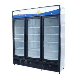 1013L Arco Triplo com porta de vidro vitrina de exposição Arrefecimento directo Bebidas Freezer Vertical