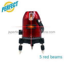 Niveau van de Laser van de Plaats 4V1h1d van de Straal van de Lijnen van de Fabriek van merken het Draagbare 5 Rode auto-Nivelleert Roterende voor Decoratie