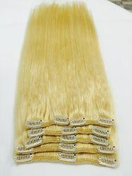 100%-русые двойной обращено Virgin Реми человеческого волоса Clip в расширениях Weft полный комплект головки блока цилиндров