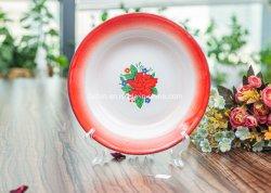 Placa de sopa de esmalte com aro coloridos e decorados Flower