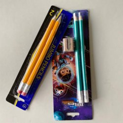 執筆まめのカードの銀製カラーそして消す物が付いている文房具によってカスタマイズされるジャンボ丸型の木のHbの鉛筆