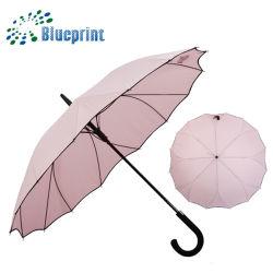 Windundurchlässiger spezieller gerader Regenschirm der Dame-Gift Flower Shape Ribs mit gebogenem Griff