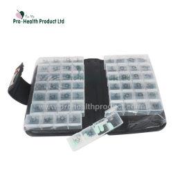 56 compartimentos de cuero de PU 2 semanas Organizador de la píldora de la caja con tapa de la cartera