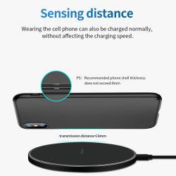 Nueva ronda cargador de teléfono inalámbrico 10W máx. de carga rápida de elástico negro para iPhone 11 12 PRO Nota Galaxy S9 S8