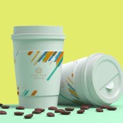 Papel descartável Cup Takeaway Impressão beber café xícara de papel com a evitar vazamentos tampas
