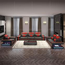 مجموعة من صوفا المكتب المنزلي الوظيفية من الجلد الأصلي الحديث الأوروبي أضواء LED وأثاث غرفة معيشة ترفيهية