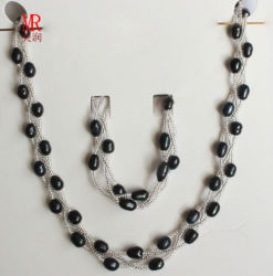 6-7mm Black Freshwater Pearl Jewelry Set