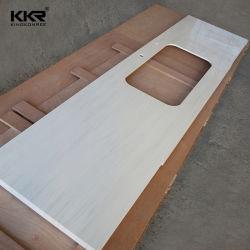 Cascade en marbre blanc de chant Corian Surface solide Counter Tops des comptoirs de cuisine