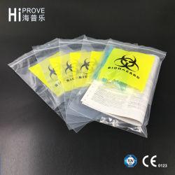 Ht-0619 sacos de plástico médicos coloridos do selo do auto do transporte do espécime do LDPE 4-Walls