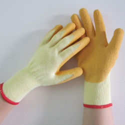 Guantes de látex Coaated algodón elástica de seguridad de protección guantes de trabajo