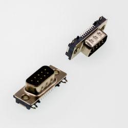 Conector D-SUB de PCB de Ângulo Direito de Linha Dupla masculina estampada/pino usinado sem bloquear 9p/15p/25p/37P D-SUB-25