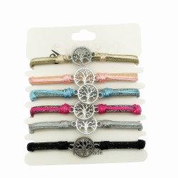 Multi Farbe Kreis-Baum Zeichenkette und Lederimitat-Armband