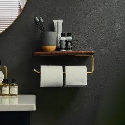 Erogatore fissato al muro del supporto di carta igienica della mano della stanza da bagno di Uxury con nero moderno del tovagliolo del telefono della mensola del rullo di legno del tessuto il doppio