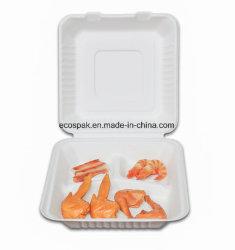"""Bagasse 9"""" 3-Fach Umweltfreundliche Biologisch Abbaubare Kompostierbare Geschirr Lunchbox"""
