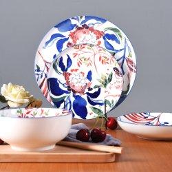 أدوات المائدة المطلية يدويًا من السيراميك مجموعة عشاء خزفية