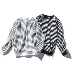 남성용 스트라이프 스웨트셔츠 상의 남성용 패션 와일드 편안한 후디 O-넥 캐주얼 스웨트셔츠