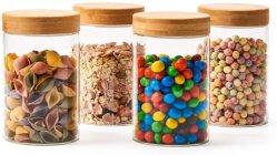 4つの部分のガラス気密の瓶の台所用品のためのタケふたによってセットされるガラス記憶のびん