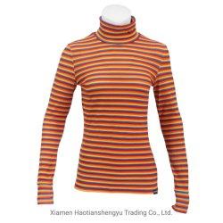 Women's Long Sleeve Vinrtage Stripe haut maquette T-shirt col roulé