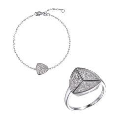925 серебристые простой часы браслет кольцо набора ювелирных изделий