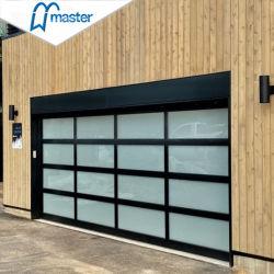 China Fabricante Aluminio Residencial Automático Seccional Marco Negro Esmerilado Vista Completa 16X7 Vidrio Moderno Puerta de Garaje Precios