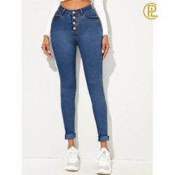 Quatro cores 2020 Verão Botão Moda Skinny Jeans Sexy