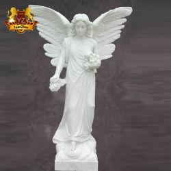 Натуральный камень рисунок статую в натуральную величину стороны Карвинг белого мрамора Ангел с крыльями статуи