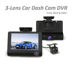 4inch 1080P 3lentille de caméra de tableau de bord de voiture pour l'avant cabine arrière de la vidéo enregistreur DVR voiture boîte noire
