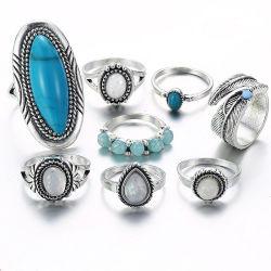 8 PCS/Set retro de los anillos de color turquesa Joyería para Mujeres Regalos Joyería