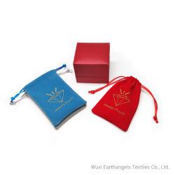 Оптовая торговля Custom шелк трафаретной печати логотип красного бархата Ювелирный футляр в подарочной упаковке мешок