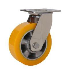 O alumínio Orange PU em aço inoxidável de rotação das rodas rodízios pesados