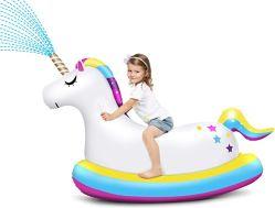 L'eau sprinkleur gonflable personnalisé Unicorn Ride de flottement de la piscine sur les jouets
