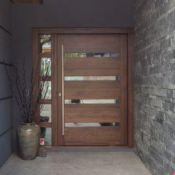 Entrada dianteira moderna e portas de madeira maciça Design simples e elegante interior exterior de aço Madeira Portas do Pivô
