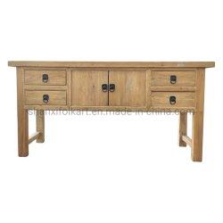 Tavolo console in legno naturale ricllato con Antitque Asiatico W 4 Cassetti