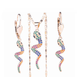 Presente feminino 18K dourado estilo revestido de zircão cúbico encanto de imitação Conjunto de jóias